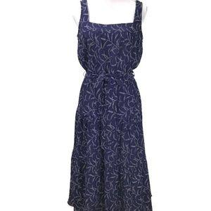 Michael Kors Women Tiered Midi Floral Dress Navy M